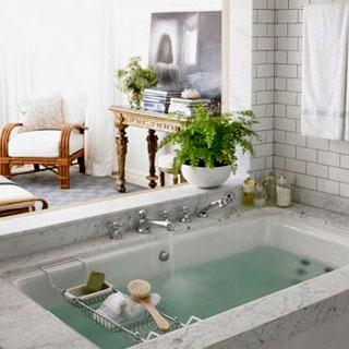 marble white tile deep soaking tub luxurious