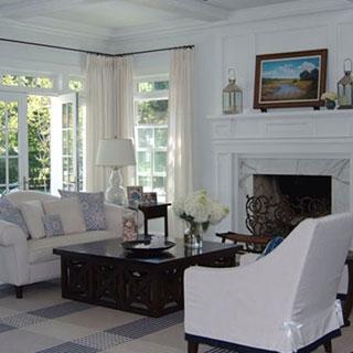 beach house white furniture blue and white carpet