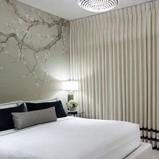 wallpaper curtains comfortable bedroom
