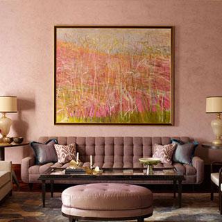 Upper west side rose-colored decorator living room interior design