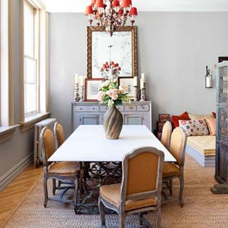 Tribeca loft limestone table Italian chandelier French chair