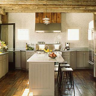 rustic beams vintage stools wooden floor