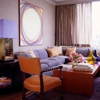 Mix of colors modern art textural orange arm chair