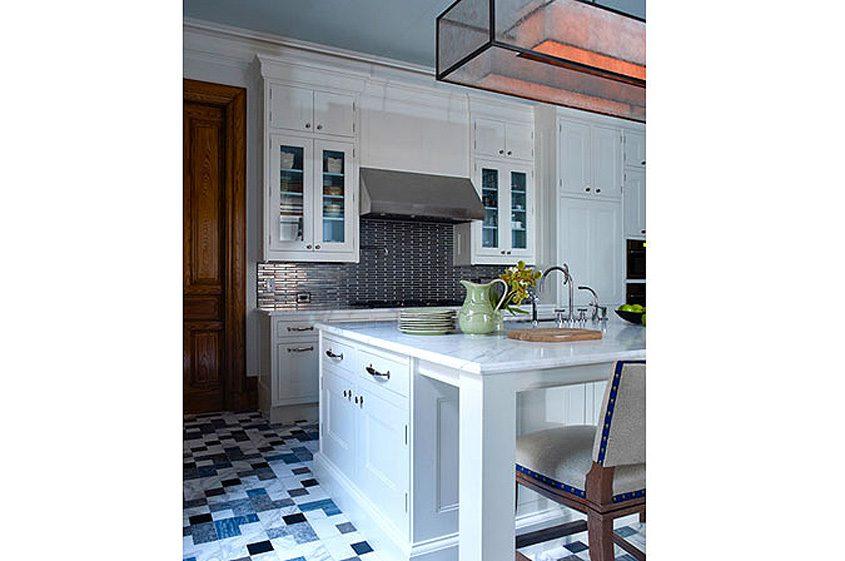 renovation New York City prewar kitchen white marble island, tile floor
