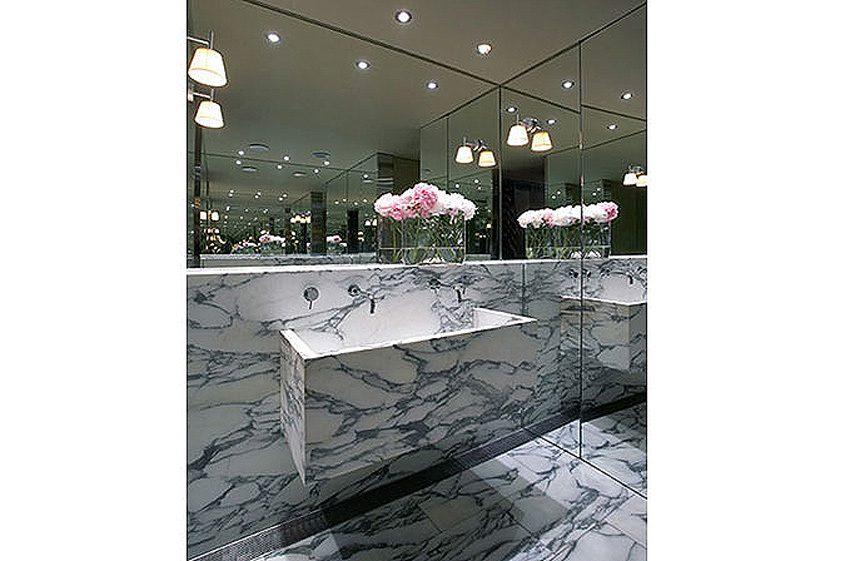 bathroom luxury custom marble sink on marble wall