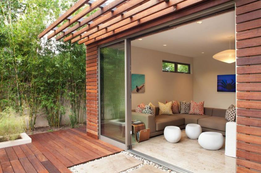 indoor-outdoor room in California LEED certified wood, stone natural materials