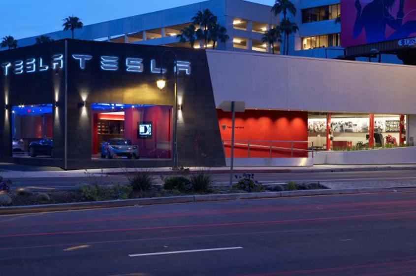 iconic brand Tesla showroom Los Angeles cars