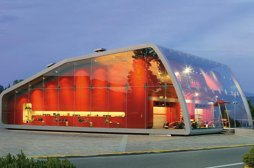 Ferrari red, showroom Italy, architecture
