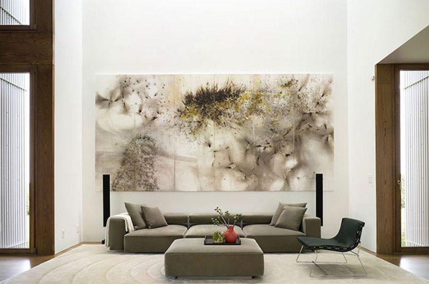 low sofa modern huge artwork loft-like space