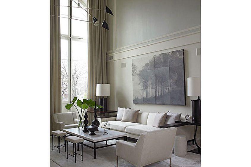 Brooklyn townhouse living room modern sofas high tall windows