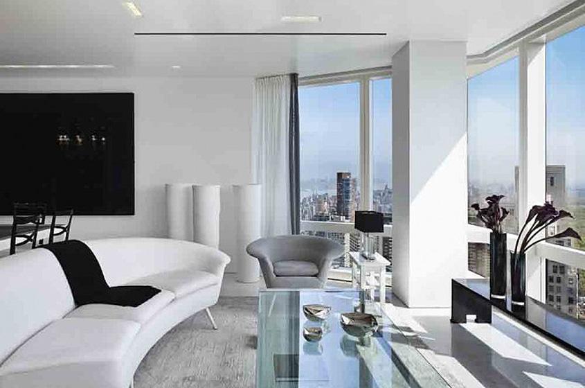 modern living room penthouse New York City, white sleek sofa