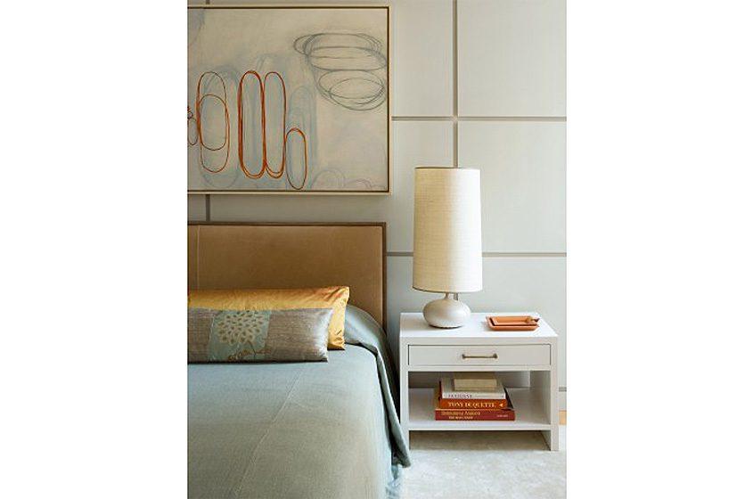 serene master bedroom artwork custom headboard contemporary