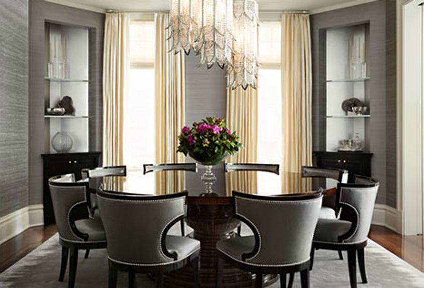 Dining room elegant chandelier round dining table curved velvet seat back