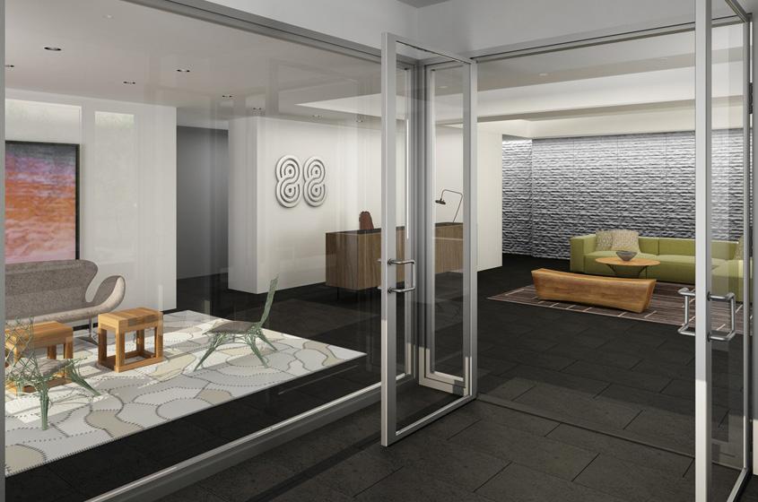 Modern Development lobby design mixed wood sleek look