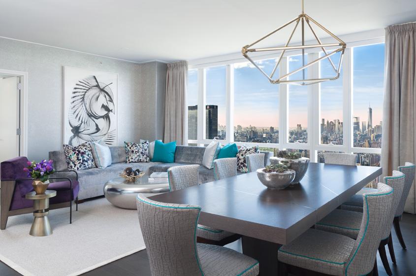 elegant, views, New York City contemporary lush fabrics