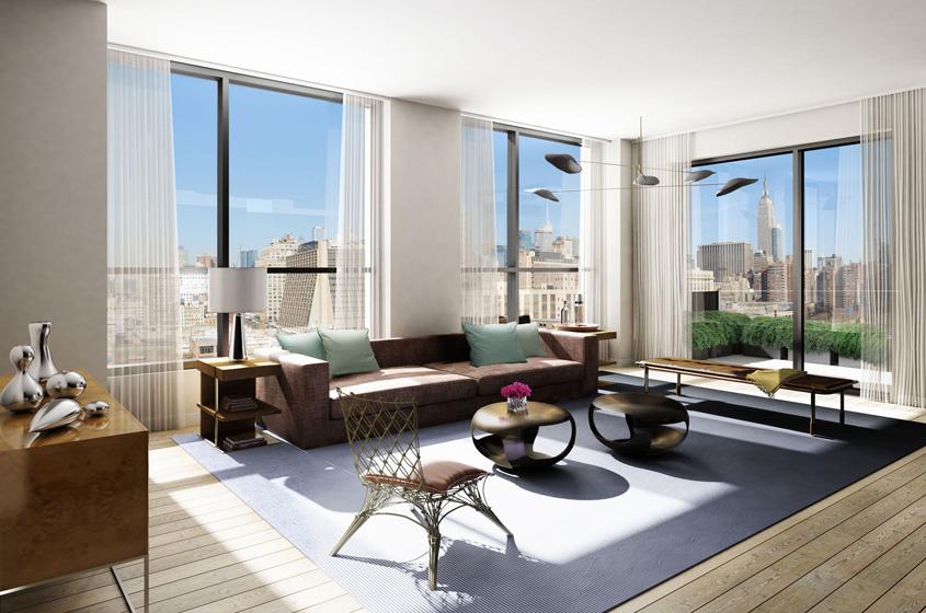 model apartment new Development building New York CIty modern, sleek