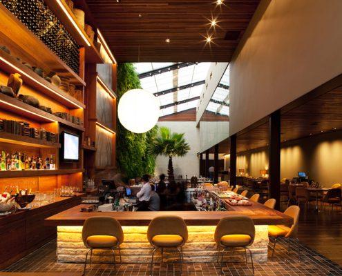 Brazilian restaurant modern tile, stone, seating wood, elegance and drama