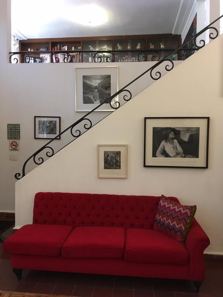 red midcentury sofa elegant original stair railing
